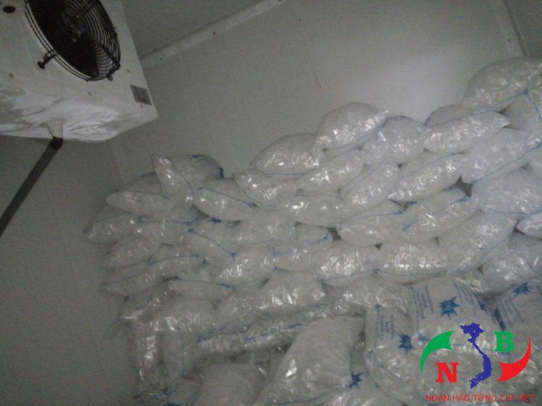 Đá viên được bảo quản trong kho lạnh chuyên dụng
